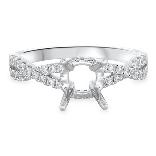Pavé Twist Shank Engagement Ring Setting (semi-set)