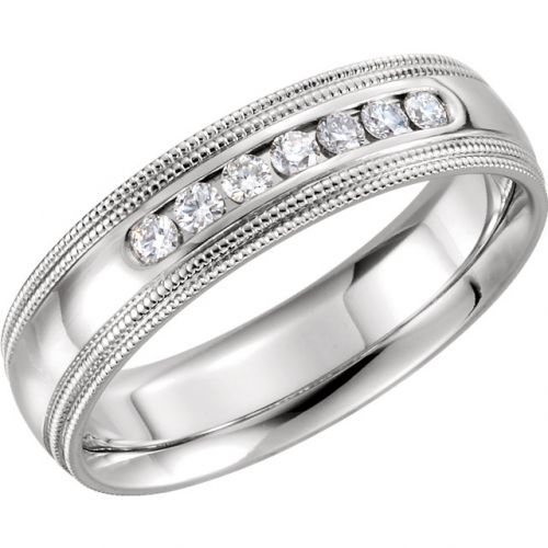 Comfort Fit Accented Wedding Band