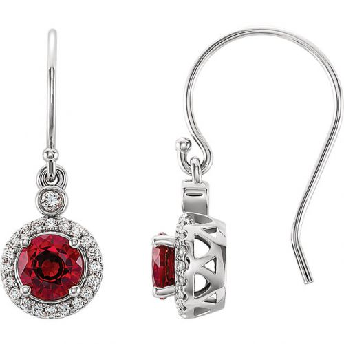 Lab-grown ruby Earrings, with Diamond Halo