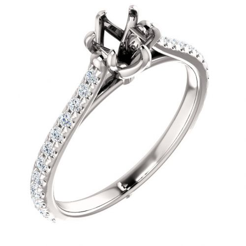 Pavé -set Engagement Ring Setting (semi-set)