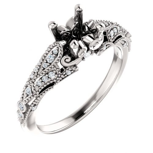 Vintage Inspired Sculptural Engagement Ring Setting (semi-set)