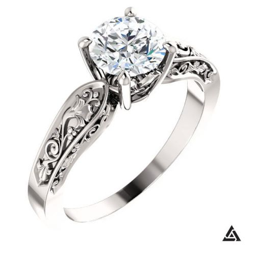 Floral Inspired Solitaire Engagement Ring  with 01 Carat Diamond