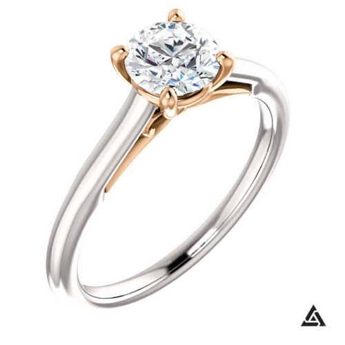 Two Tone Solitaire Engagement Ring with 0.75 Carat Diamond