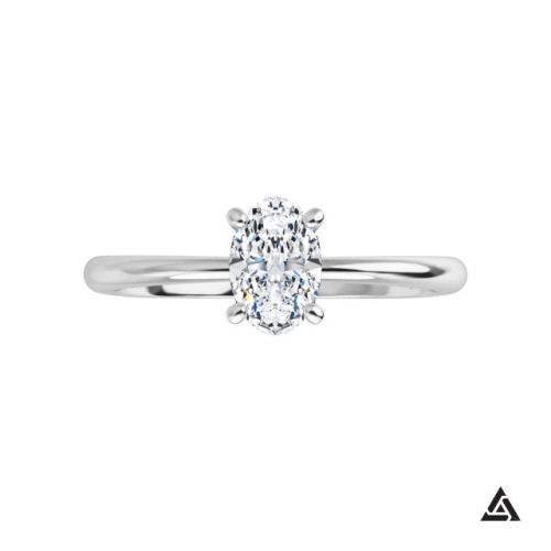 0.54ct Oval Brilliant Diamond Solitaire Engagement Ring