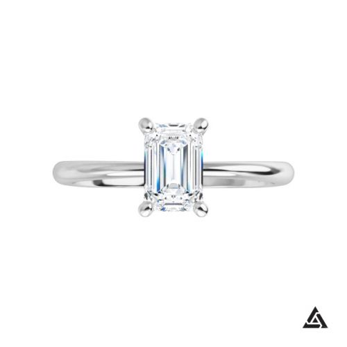 0.92-Carat Emerald Cut Diamond Solitaire Engagement Ring