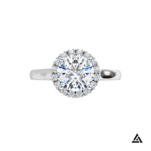 1.04 Carat Round Brilliant Diamond Halo Engagement Ring