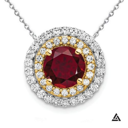 1.5CT Ruby with Two-Tone Diamond Double Halo Pendant