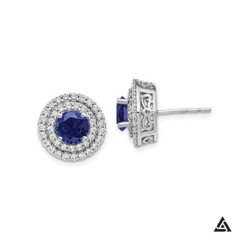Blue Sapphire  and Diamond Double Halo Earrings