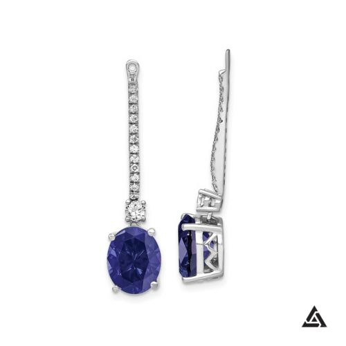 Diamond Accented Blue Sapphire Earrings