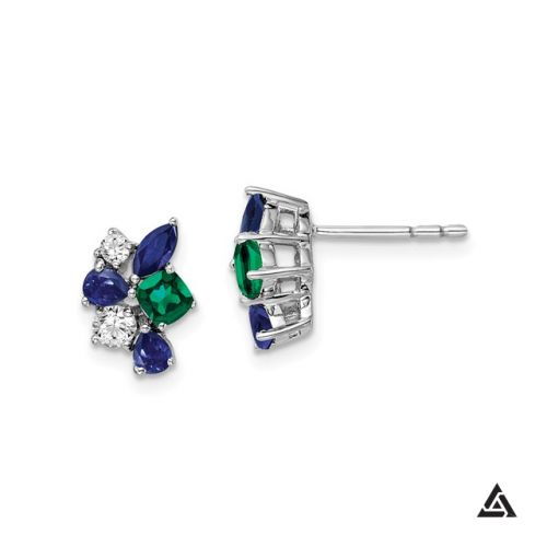 Diamond, Blue Sapphires and Emerald Fashion Earrings