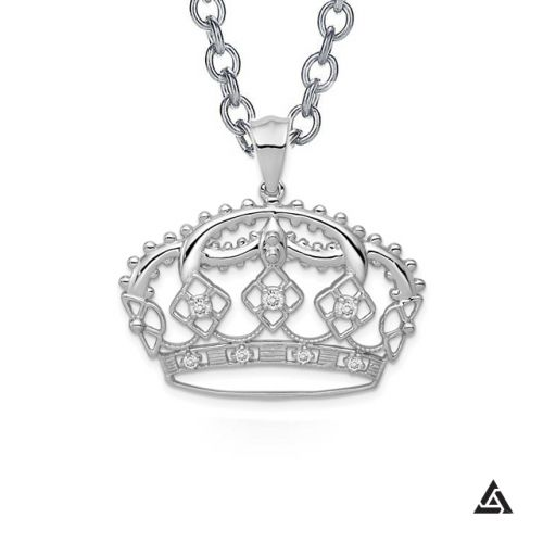 Diamond Queen Crown Pendant and Chain