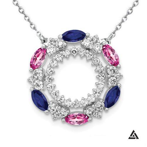 Diamond & Sapphire Eternity Pendant and Chain