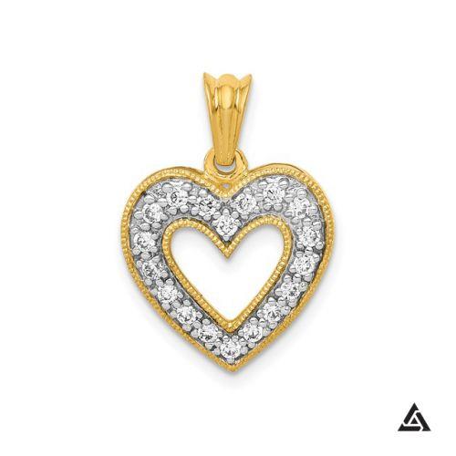 Diamond Open Heart Pendant and Chain
