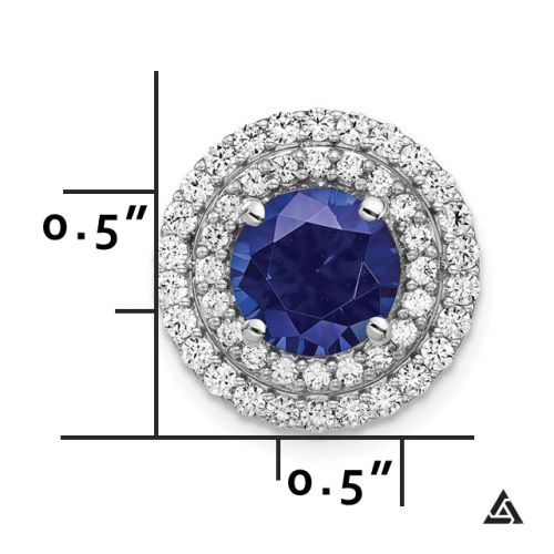 Royal Blue Sapphire with Diamond Double Halo Pendant