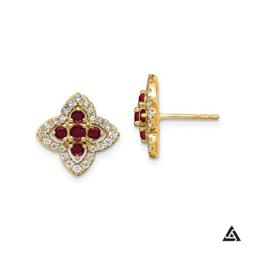 Ruby and Diamonds Floral Halo Earrings
