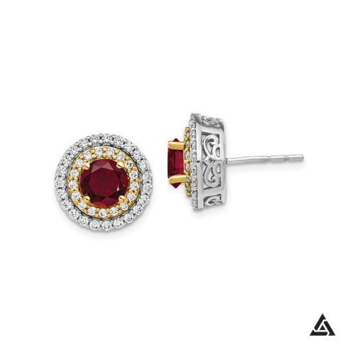 Two-Tone Ruby and Diamond Halo Earrings