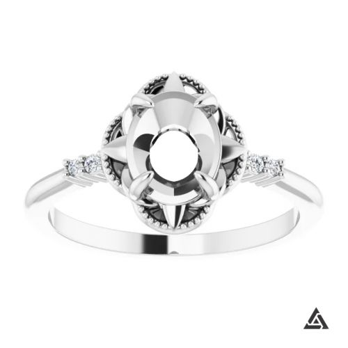 Modern Accented Engagement Ring Mounting (semi-set)