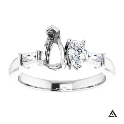 Modern Pear Shaped Diamond Engagement Ring Mounting (semi-set)